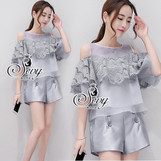 Lady Ribbon Online ขายส่งเสื้อผ้าออนไลน์ เสื้อผ้า Sevy SV06030816 &#x1F389Sevy Two Pieces Of Lace Rond Bust Cut Shoulder With Shorts Sets