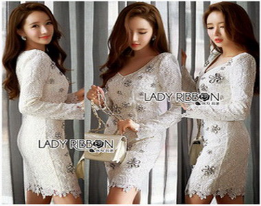 Lady Ribbon Embellished Lace Dress