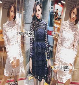 Lady Ribbon Lace Paneled Dress เดรสผ้าลูกไม้ลายดาว