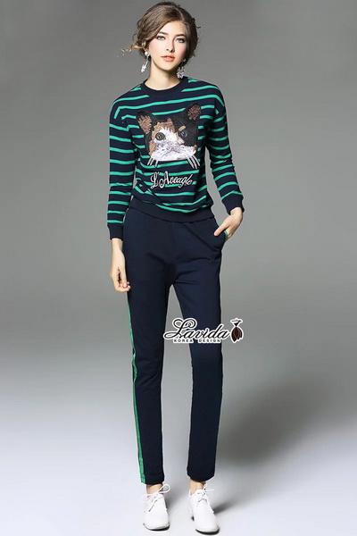 (เสื้อ+กางเกง) ปักลายน้องแมว