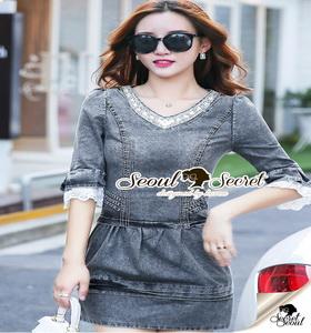 Seoul Secret Diamond Denim Dress งานสวยเก๋ด้วยเนื้อผ้ายีนส์ฟอกสีดำ