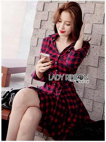 Lady Charlotte Red Tartan Ruffle Shirt Dress