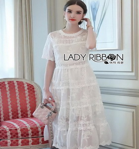 Princess Lady Ribbon White Lace Maxi Dress เดรสยาว