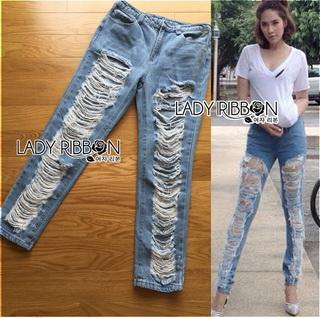 Lady Ribbon Online ขายส่งเสื้อผ้าออนไลน์เลดี้ริบบอน LR07010816 &#x1F380 Lady Ribbon's Made &#x1F380 Lady Elina Washed Ripped Skinny Jeans กางเกงยีนส์