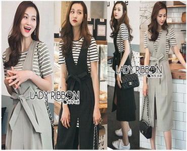 Lady Ribbon Striped T-Dress เดรสแขนสั้นลายทาง
