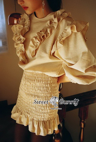ผ้าฝ้ายผสมลินนินสีครีมสวย