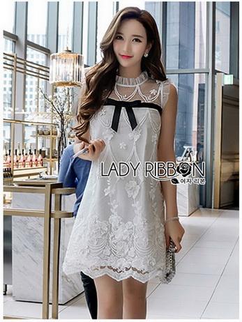 Lady Ribbon เสื้อยาวสีขาวลูกไม้วินเทจ