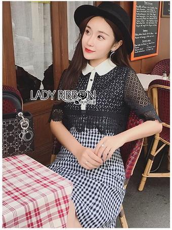 Lace Collared Lady Ribbon Dress