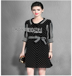 Striped Black & White Dress Lady Ribbon เดรสลายจุด