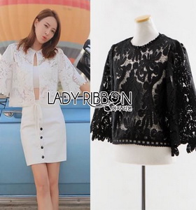 Lady Ribbon Gabby Basic Lace Cropped Top with Back