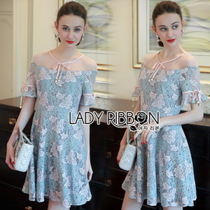 Lady Ribbon Butterfly Pastel Lace Mini Dress