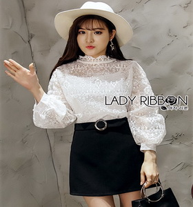 Lady Ribbon Yves Classic Sweet White Lace Blouse