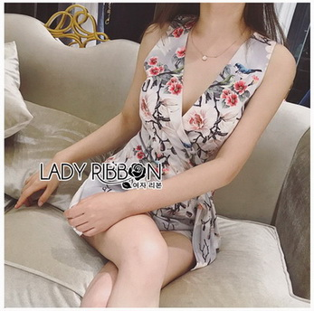 Lady Poppy Beautiful Flower Printed Side-Ribbon Playsuit