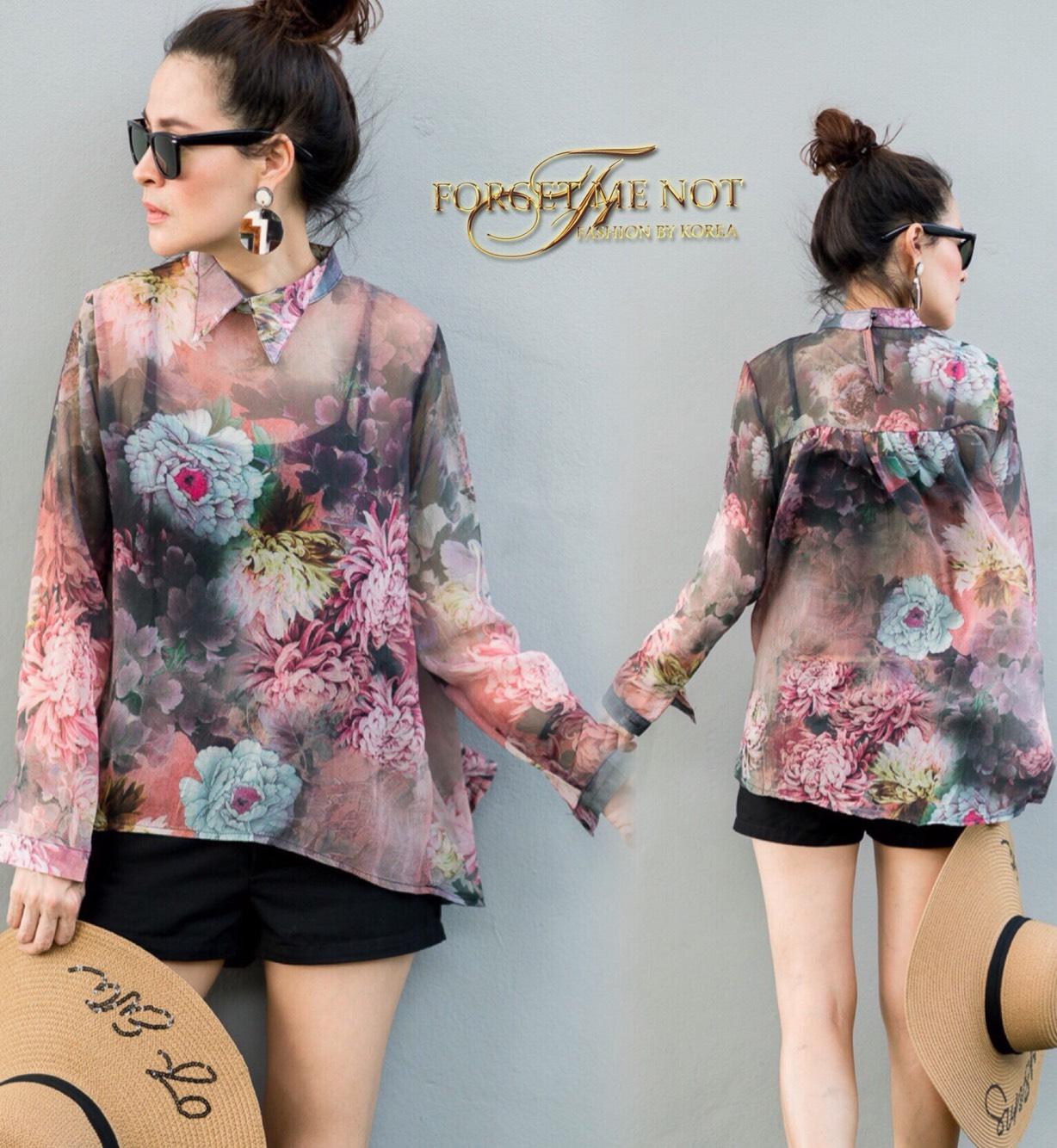 เสื้อแฟชั่นเกาหลี เสื้อเชิ้ต แขนยาว Japanise Style เนื้อผ้า Silk