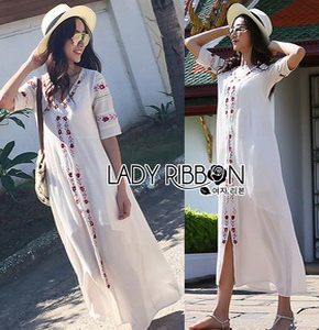 Lady Ribbon Spencer Casual Flower Maxi Dress