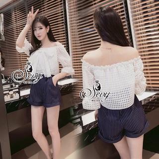 Lady Ribbon Online ขายส่งเสื้อผ้าออนไลน์ เสื้อผ้า Sevy SV07030816 &#x1F389Sevy Off Shoulder Organza Ribbon Bust Strips Shorts Playsuit
