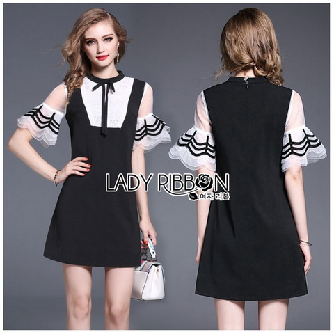 Lady Ribbon Mini Dress with Ribbon มินิเดรสสีดำ