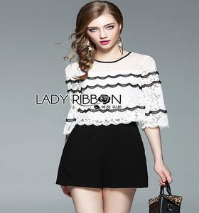 Lady Ribbon Black Crepe Playsuit ขายเพลย์สูท
