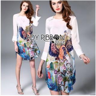 Lady Ribbon Online ขายส่งเสื้อผ้าออนไลน์เลดี้ริบบอน LR10010816 &#x1F380 Lady Ribbon's Made &#x1F380 Lady Olivia Smart Casual Colourful Printed Dress เดรสผ้าสีขาว
