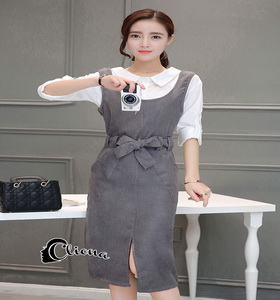Shirt + Grey Bib Skirt Dress