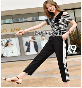 Lady Ribbon Anna Street Chic Sweatpants เสื้อลายทาง