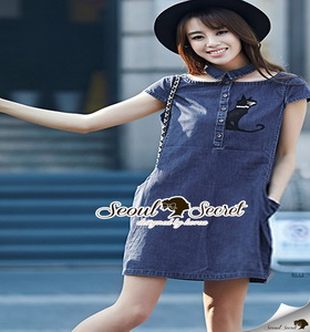 Seoul Secret Catty Denim Dress เดรสเชิ้ตเก๋ ดีเทลน่ารักๆ