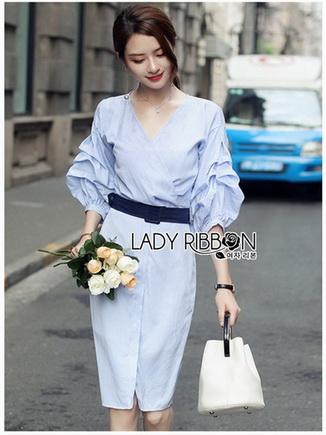 Cotton Dress Lady Ribbon เดรสผ้าคอตตอน
