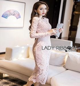 Lady Ribbon Pale Pink Midi Dress