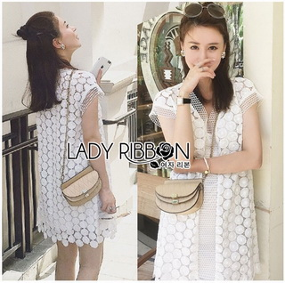 Lady Ribbon Online ขายส่งเสื้อผ้าออนไลน์ Lady Ribbon พร้อมส่ง LR14040816 &#x1F380 Lady Ribbon's Made &#x1F380 Lady Ellie Casual Chic White Daisy Lace Dress