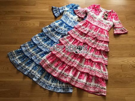 Lady Rita Italian Printed Ruffle Maxi Dress