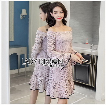 Off-Shoulder Lady Ribbon Lace Dress