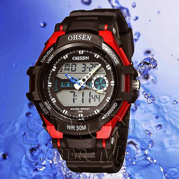 OHSEN – AD1302-4: Dual System Alarm / Chronograph Sports Watch