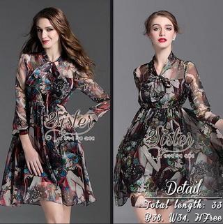 2Sister Made, 2 Premium Black Vintage Style Korea Fashion เดรสลุคสบายๆ เนื้อผ้าchiffonพริ้วใส่สบาย