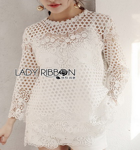 Lady Ribbon White Lace Long Blouse