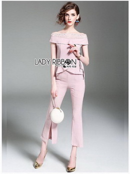 Easy Off-Shoulder Cropped Top and Pants Set