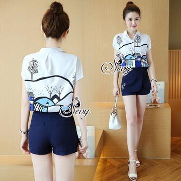 Lady Ribbon Online เสื้อผ้าแฟชั่นออนไลน์ขายส่ง เลดี้ริบบอนของแท้พร้อมส่ง sevy เสื้อผ้า SV02240716 &#x1F389Sevy Two Pieces Of Graphically Shirt With Fisho Embroidered Shorts Sets