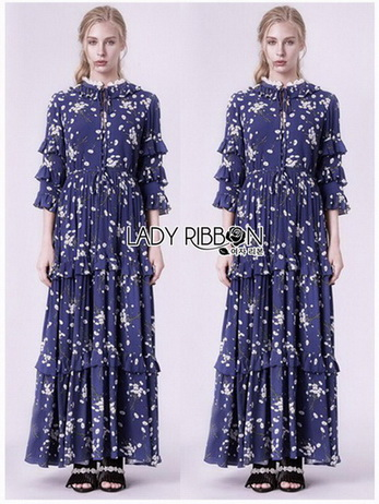 Lady Danielle Flower Printed Navy Blue Maxi Dress
