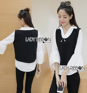 Lady Ribbon Emily Preppy Chic Black and White Cotton Top เชิ้ตขาว