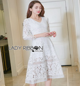Lady Ribbon Vanessa Classic Feminine White Lace Midi Dress