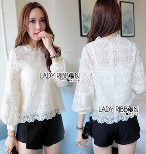 Lady Ribbon Classic Sweet White Lace Blouse