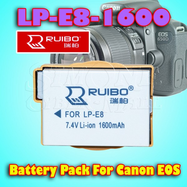 Ruibo LP-E8-1600 Lithium Battery For Canon EOS 550D, 600D, 650D, 700D & Others