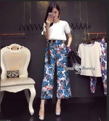 เซ็ทเสื้อ+กางเกงเกาหลีสีขาว