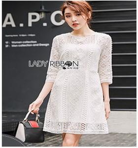 Lady Ribbon Basic White Lace Dress