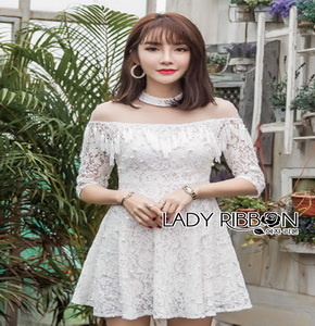 Lady Ribbon Sara White Lace Dress ขายเดรส