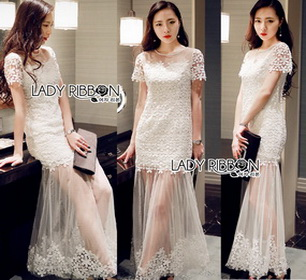 Lady Ribbon Tulle Evening Dress