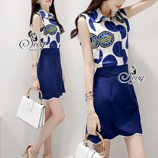 Sevy Two Pieces Of Glam Sleeveless Shirt With Skirt Sets