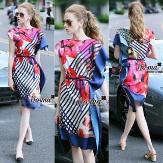 Lady Ribbon Online ขายส่งเสื้อผ้าแฟชั่นออนไลน์ เสื้อผ้า Normal Ally NA11080816 &#x1F389Normal Ally Present Elegance Silp scarf dress&#x1F389 (เดรสคลุม + เชือกพันรอบเอว)