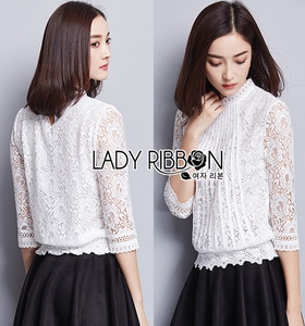 Lady Ribbon Alessandra White Lace Blouse