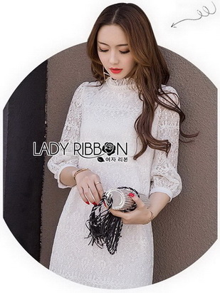 Lady Diamond Sweet Style High-Neck White Lace Dress