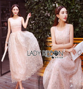 Lady Ribbon Pastel Pink Embroidered Tulle Dress